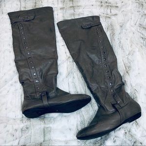 Bamboo Over the Knee Gray Studded Boots